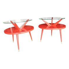 FAB!  Danish Red Lacquered Side Tables - $1,995 Est. Retail - $1,450 on Chairish.com #Chairish