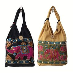 Elephant Embroidered Handloom Cotton Small Hand Bags for Kids (Set of 2) Royal Kraft $33.92