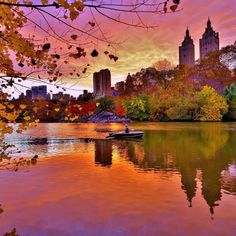 A fiery sunset from The Lake at Central Park New York City