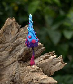 Light blue purple fuchsia fairy garden fantasy mushroom  ,polymer clay toadstool Home decor,Fairy Garden