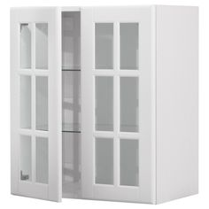 double sized akurum wall cabinet with 2 glass doors birch effect lidi white