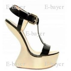 Only $144.90 2012 New Luxury Genuine Leather Wedge Heel Sandals Women's High Heels Shoes IN Black with Gold color