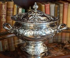 Ornate Silverplate Tureen Victorian Design, Silver Plate, Vintage, Silverware Tray