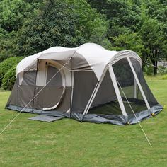 6 Person 3 Room Waterproof C&ing Tent Double Layer Family Outdoor Hiking W/Bag & Waterproof Pop Up Gazebo Garden Shade Patio Dining Decking Caravan ...