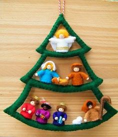 Nativity scene tree DIY felt kit by OwlsCityCreations on EtsyArtículos similares a PDF pattern - Nativity scene tree en EtsyMade from Sculpey instead of felt?Make this into a drawing for Rhodafelt Christmas tree with figures Christmas Nativity Scene, Christmas Makes, Felt Christmas, Christmas Projects, All Things Christmas, Christmas Holidays, Christmas Ornaments, Christmas Bells, Xmas