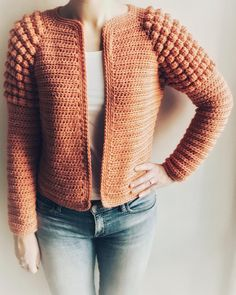 Crochet Square Patterns, Crochet Cardigan Pattern, Crochet Stitches Patterns, Bobble Stitch, Crochet Winter, Paintbox Yarn, Work Tops, Crochet Clothes, Etsy
