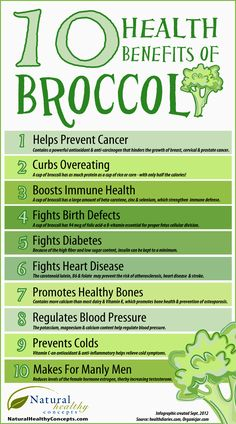 10 Health Benefits of Broccoli http://blog.naturalhealthyconcepts.com/2012/09/05/10-health-benefits-of-broccoli-infographic/