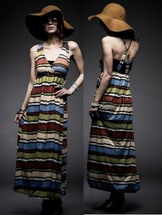 Bohemia Colorful Striped Maxi Dress - BuyTrends.com