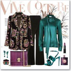 Roberto Cavalli Beaded & Embroidered Velvet Blazer Look by romaboots-1 on Polyvore featuring Zac Posen, Marco de Vincenzo, Roberto Cavalli, Oscar de la Renta, NARS Cosmetics and Yves Saint Laurent