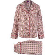 Liberty Print Pink Mauverina Cotton Long Pyjama Set ($195) ❤ liked on Polyvore featuring intimates, sleepwear, pajamas, cotton pajamas, button front pajamas, pink pajamas, long sleepwear and pink pjs