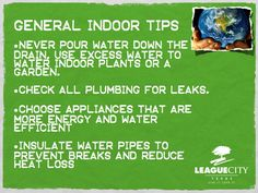 Indoor water conservation tips!