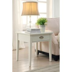 Home Decorators Collection Amelia 1-Drawer White Wooden End Table-SK18484 - The Home Depot