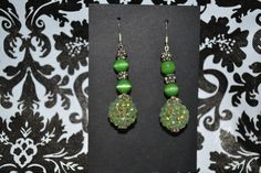 Green Dangle Earrings  Custom Made  Sterling by InspirableCrafts
