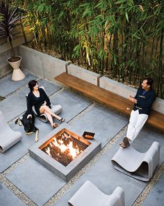 With the Pacific Ocean not far away, the owners of this Manhattan Beach home are quite content with their 15-by-30-foot backyard. The architect Michael Lee outfitted the space in concrete, bamboo, ipe, and stone to create the perfect spot for s'mores after a long day of surfing. Photo by Dave Lauridsen. This originally appeared in Basic Instincts.