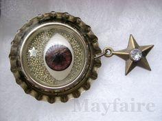 Heavenly Eye Resin Art Pin by MayfaireArt on Etsy, $25.00
