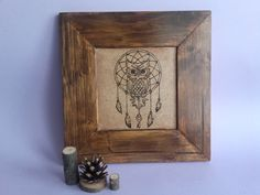 Wood Burning Art, Wood Painting, Owl, Amulet, Lucky Charm, Handmade Art, Pyrography Art, Framed Painting, Room Decor, Gift