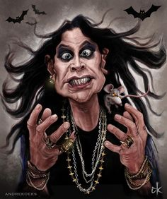 Ozzy Osbourne Metal Prints and Ozzy Osbourne Metal Art Funny Caricatures, Celebrity Caricatures, Celebrity Drawings, Heavy Metal, Cartoon Faces, Funny Faces, Rock Poster, Black Label Society, Caricature Artist