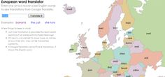 "The Interactive European Word Translator Map: Could be useful for finding the word for ""beer,"" or ""how much,"" or other one or two word terms in all the different European languages."