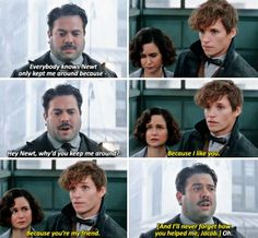 Jacob and Newt are basically my OTF (one true friendship) forever > THE WAY TINA LOOKS AT NEWT I CANT EVEN RIGHT NOW.