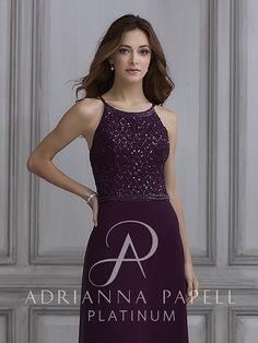 1aa8cd2d02 40124 - beaded halter chiffon gown Adrianna Papell Platinum Marie  Antoinette Bridal Salon Derby