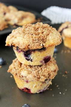 Cinnamon Blueberry Muffins With A Cinnamon Streusel Recipe (Beyond Frosting), batter made with buttermilk and sour cream