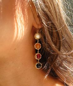 4-Drop Sunburst EarringsMother of Pearl, Red Aventurine, Red Jade, Red Tiger's Eye #goddessstyle