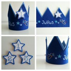 Kronen - Geburtstagskrone ♥ Weltall ♥  Filz mit Namen - ein Designerstück von fadenwuermchen_de bei DaWanda
