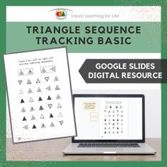 This digitally interactive resource is designed for use with Google Slides. This resource contains 10 slides in total. Answer sheets are included.The student must find the same triangle sequences as the examples at the top of the page, and drag the orange blocks to mark the correct answers.