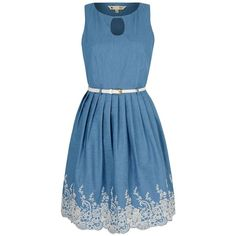 Yumi Broderie Anglaise Chambray Dress ($86) ❤ liked on Polyvore featuring dresses, blue, women, knee length shift dress, shift dress, sleeveless shift dress, no sleeve dress and skater dress