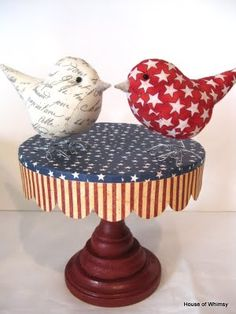 """House of Whimsy: Tutorial for a Little """"Cake Stand"""" paper craft 4 of July ish Fourth Of July Decor, 4th Of July, Cherries Jubilee, Old Boxes, Paper Tree, Little Cakes, July Crafts, Cake Plates, Red White Blue"""