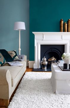 colour scheme Houzz Benjamin Moore Wedgewood Gray and an accent wall in Bermuda Turquoise.