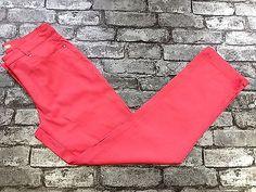 WOMANS FASHION STRAIGHT LEG COTTON CORAL TROUSERS PANTS SIZE 10  (k5) £9.90
