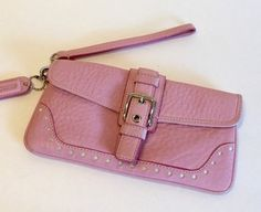 Coach Pebbled Small Wristlet in Pink $38