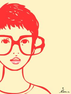 Guys make passes at girls who wear glasses (or so says Kate Spade!) Pink and Red Poppy-Head  #geek_chic #girl_in_glasses @kate spade new york