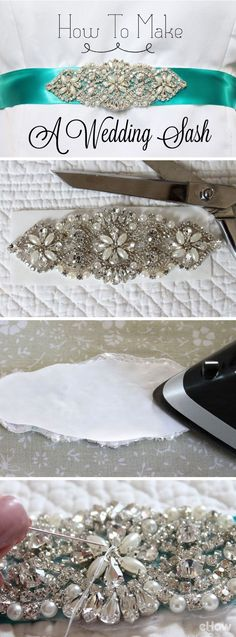 A stunning bridal sash with a signature applique full of shimmering rhinestones, pearls and glass beads adds a bit of glamour to any wedding dress. Making it yourself just makes it that much more special! DIY instructions here: http://www.ehow.com/how_7807229_make-sash-wedding-dress.html?utm_source=pinterest.com&utm_medium=referral&utm_content=inline&utm_campaign=fanpage