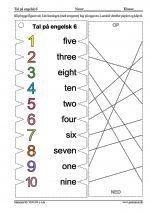 Viklekort med tal p� engelsk