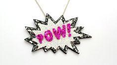 Items similar to POW! Comic Glitter Necklace on Etsy Free Uk, Glitter, Comics, Store, Creative, Handmade, Stuff To Buy, Etsy, Vintage
