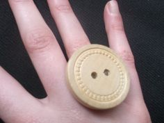 Wooden Vintage Button Adjustable Ring Handmade by gabriellesgifts, £5.00