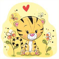 Tigre com flores e borboletas - ilustração de arte em vetor