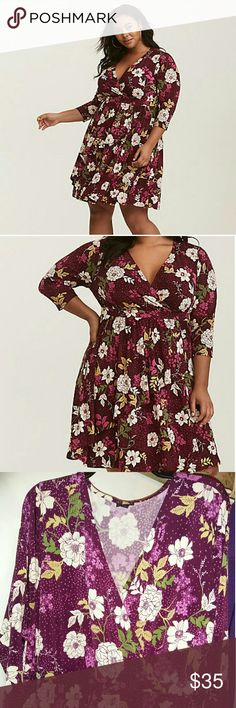 1802ddfd0c0 NWOT Torrid Burgundy Floral Faux Wrap Dress Size 4