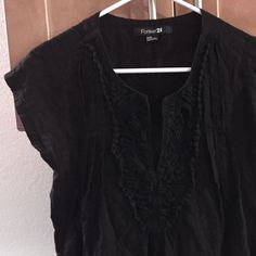 Forever 21 Black Tunic with Crochet Black tunic that's perfect for bathing suit season! Worn a few times with no wear. Forever 21 Swim Coverups