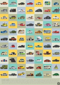 [INFOGRAPHIC] 77 iconic cars that made movie history—This illustration showcases 77 star cars from films, TV and video games. How many can you name?