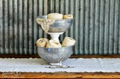 Repurposed Colanders Tiered Stand via Knick of Time @ knickoftimeinteriors.blogspot.com