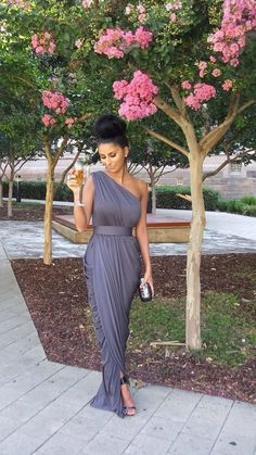 street style, Grecian style maxi dress, one shoulder simple, grey