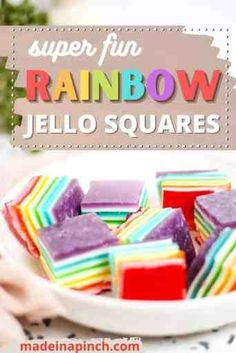 These layered Rainbow Jello Squares are SO much fun and make the perfect finger food for kids, playdates, birthday parties, holidays, or any other occasion. Learn how to make rainbow jello squares and watch your kids' faces light up! | @made_in_a_pinch #bestjellorecipes Rainbow Jello, Rainbow Donut, Finger Foods For Kids, Healthy Snacks For Kids, Jello Recipes, Dessert Recipes, Cake Recipes, Black Cherry Jello, Layered Jello