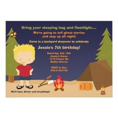 Shop Camping Birthday Party Invitation created by eventfulcards. Bonfire Birthday, Sleepover Birthday Parties, 7th Birthday, Birthday Ideas, Super Mom, Birthday Party Invitations, Custom Invitations, Invites, Rsvp