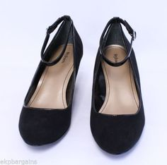 Style-and-Co-Romie-Black-Women-Faux-Suede-Wedges-Heels-Shoes-Size-8-5M-W390