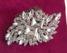 crystal pearl bridal hair comb swarovski by nefertitijewelry2009, $34.50