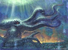 by Paul Carrick / Great Cthulhu Paul Carrick, Imagines, Old Ones, Cthulhu, Tentacle, Artsy, Painting, Painting Art, Paintings