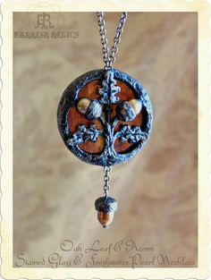 Pugin's Floriated Ornament ~ Inspired  Oak Leaf & Acorn ~ Stained glass & Freshwater Pearl  Necklace